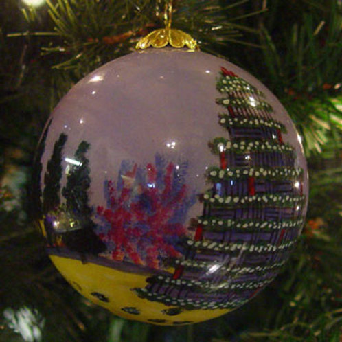 Lobster Trap Christmas Tree Glass Ornament