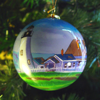 Pemaquid Point Light Glass Ornament