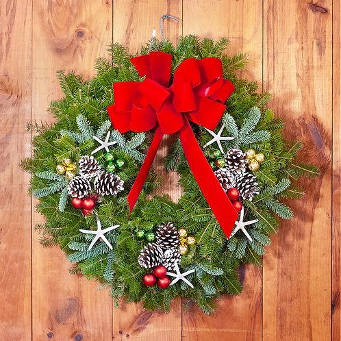 Maine Balsam Starfish Red Bow Wreath