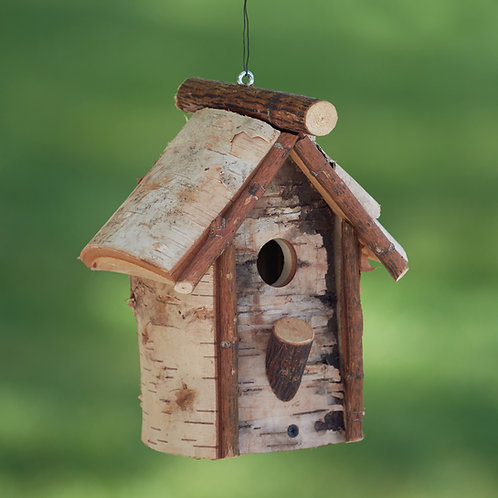 Flat Bottom Birch Birdhouse