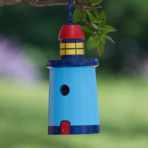 Light Blue Lighthouse Birdhouse