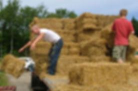 Unloading bales of straw from a truck