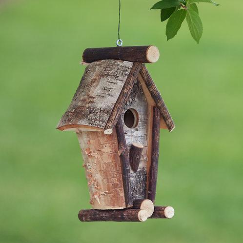 Tall A-Frame Birch Birdhouse