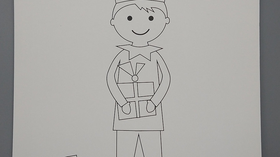 Full-Sized Elf Coloring Page