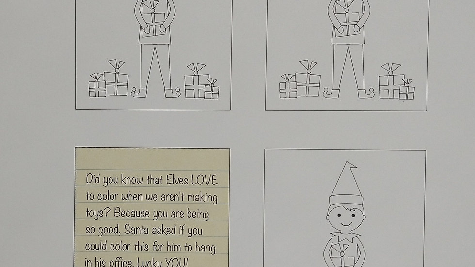 Elf-Sized Coloring Pages With Note