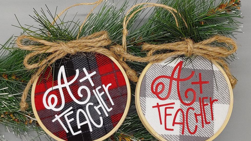 A+Teacher Round Ornament