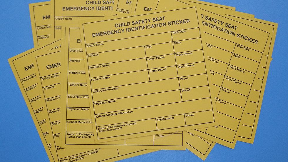 Car Seat Emergency Identification Sticker