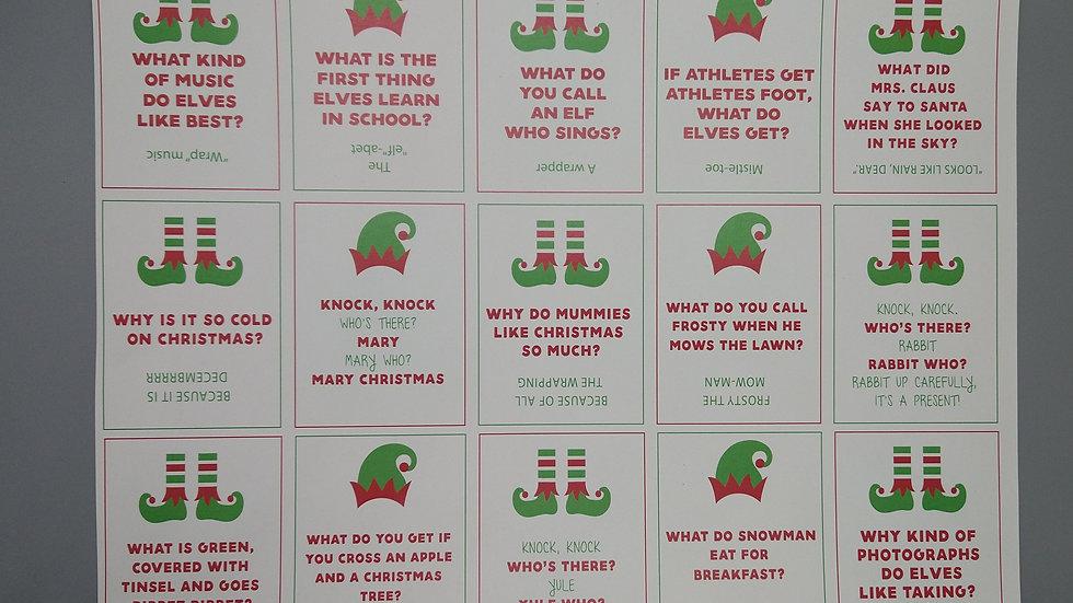 Elf-Sized Joke Cards (15 Total)