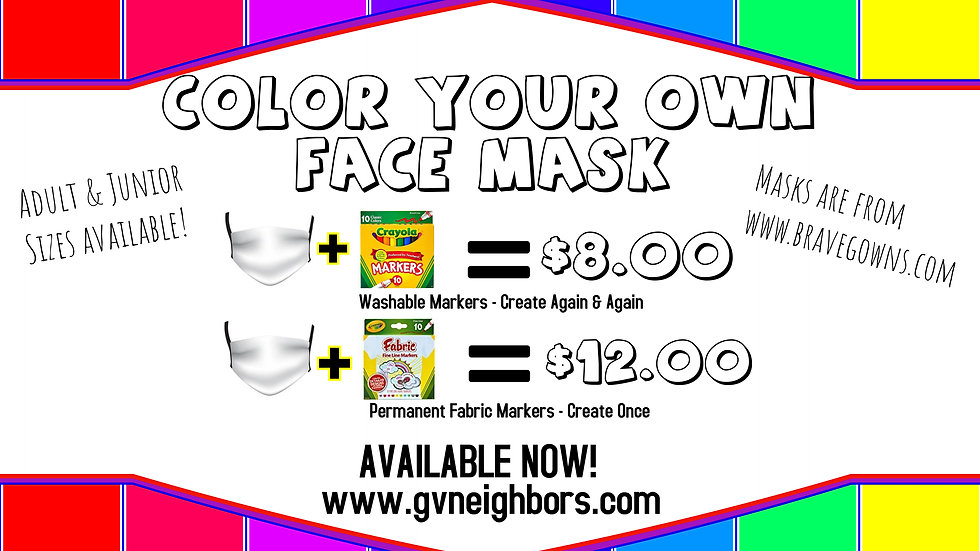 Color-Your-Own Face Mask - Permanent Markers