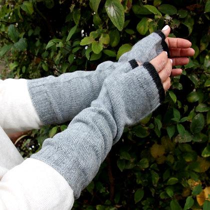 XLong Fingerless Mittens - Misty Grey