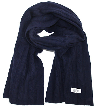 The Cable Scarf - Midnight Blue
