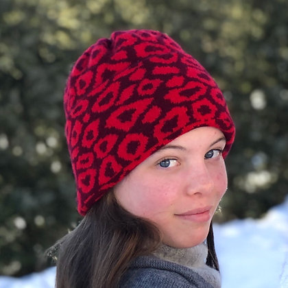 The Leopard Beanie - Red