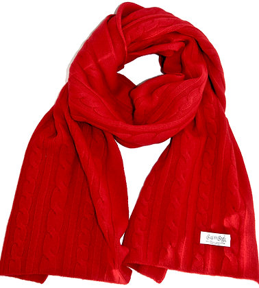The Cable Scarf - Red