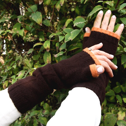 XLong Fingerless Mittens - Chocolate