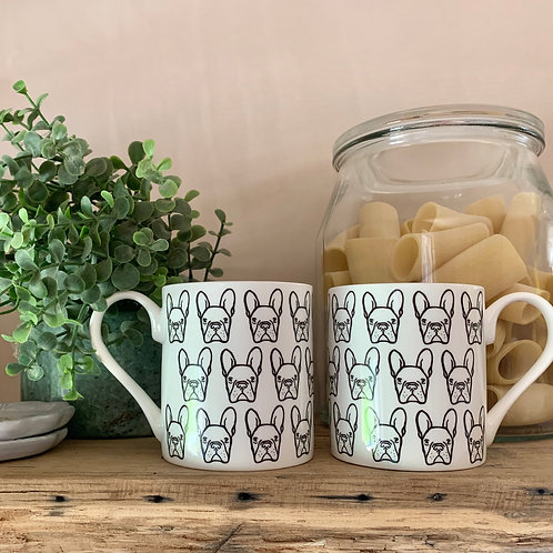 french bulldog mug, dog mug, french bulldog gift, bone china mug dog drawing
