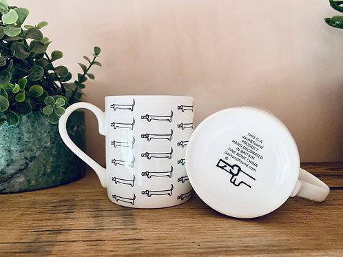 sausage dog mug, dachshund mug, miniature dachshund gift, bone china mug