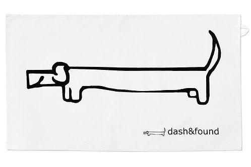 dachshund cotton tea towel, sausage dog present, dog tea towel, dashandfound