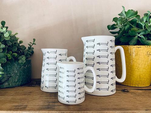 3 sizes, sausage dog fine bone china jug, dachshund gift, dog jug, hand applied