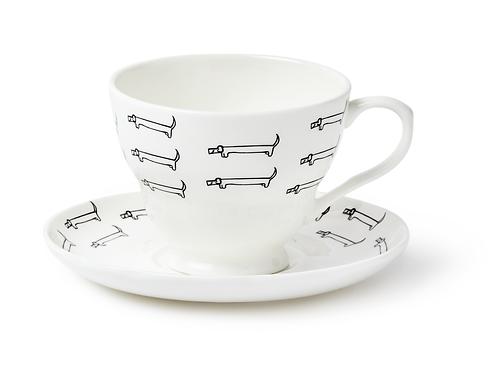 dachshund vintage teacup saucer, sausage dog china, daxie gift, fine bone china