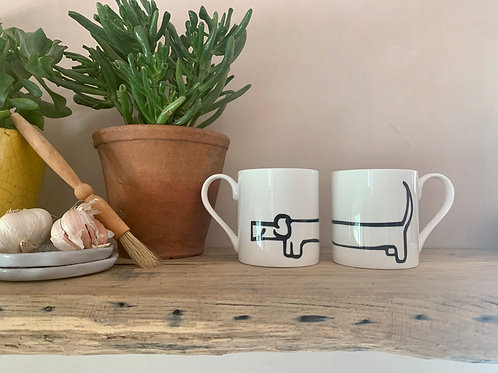 dachshund mug, dachshund gift, bone china mug, dog illustration, hand drawn dog