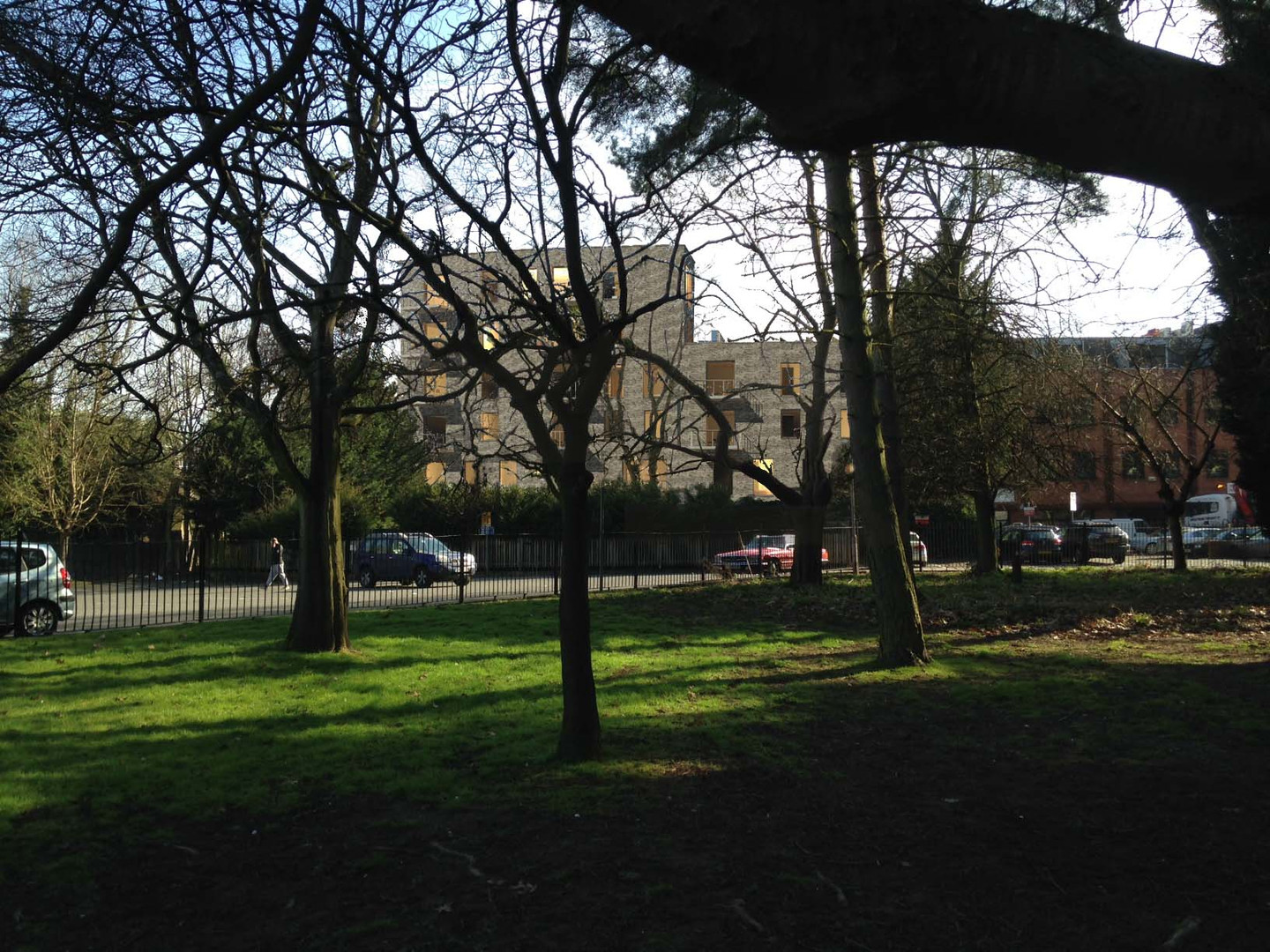 Rear elevation view from Memorial Park -