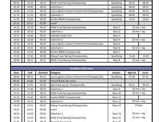 Thruxton Timetable (provisional)