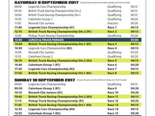 Timetable Snetterton