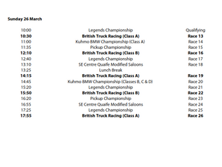 Brands Hatch Timetable