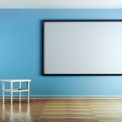 Classroom with blue walls and white boar