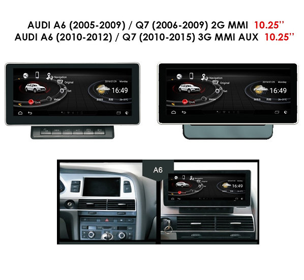 Android 9.0 MT for Audi Q7 2006-2009 2G MMI 10.25""