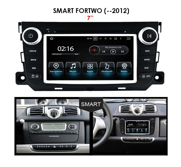 Android 9.0 for Smart Fortwo before 2012 7""