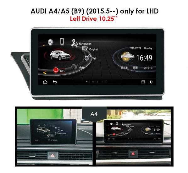 Android 9.0 MT for Audi A4 B9 after 2015.05 Left Drive 10.25""