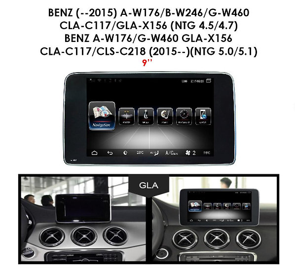 Android 9.0 MT for Mercedes Benz CLA C117 (NTG 5.0/5.1) after 2015 9""