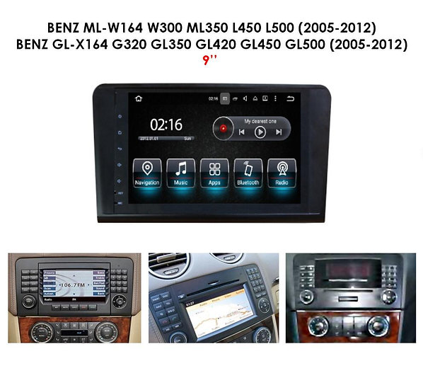 Android 9.0 PX5 for Mercedes GL-X164 GL320 GL350 GL420 GL450 GL500 2005-2012 9""