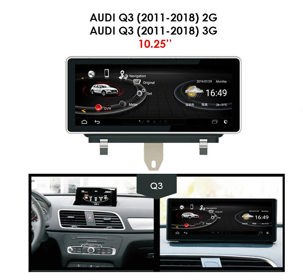 """Android 9.0 MT for Audi Q3 2011-2018 2G 10.25"""""""