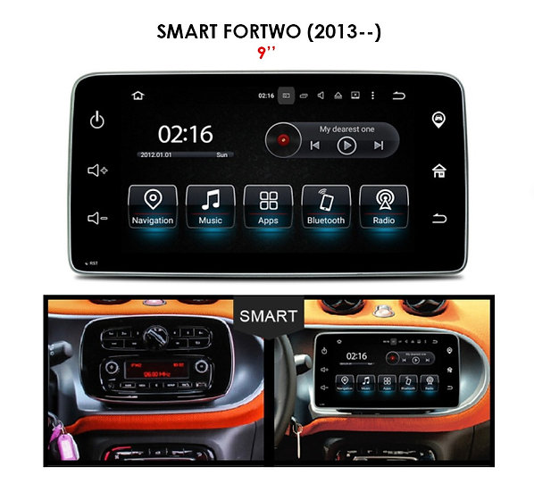 """Android 9.0 for Smart Fortwo after 2013 9"""""""