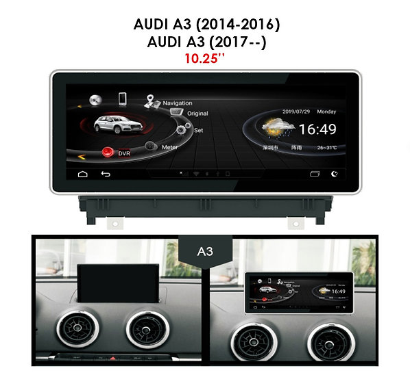 Android 9.0 MT for Audi A3 after 2017 10.25""
