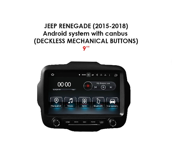 """Android 9.0 for Jeep Renegade 2015-2018 9"""" (Deckless mechanical buttons)"""