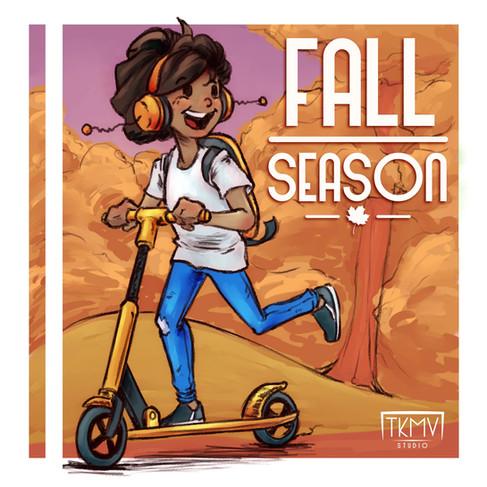 Kid on Scooter Fall Season