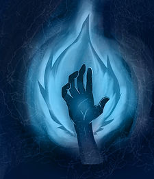 Blue Fire with Hand inside