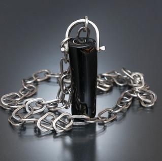 Black Coral w/ Fine Silver Bail & Chain
