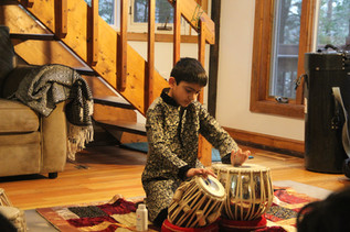 A student of Das Tabla School performs during a recital in Woodstock, CT. (2019)