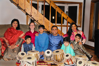Sandeep Das with several of his students after a student recital in Woodstock, CT. (2019)