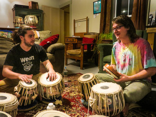 Two students practicing during the innaugural Das Music Camp at Good Commons in Plymouth, VT. (2017)