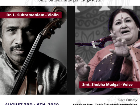 Das Music Camp 2020 Guest Faculty: Dr. L. Subramaniam & Shubha Mudgal