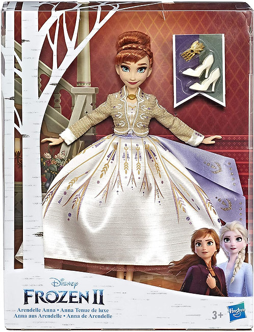 Disney Frozen 2 Fashion Doll Arendelle Anna con Abito Bianco Scintillante