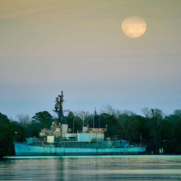 Moon above USS Orleck