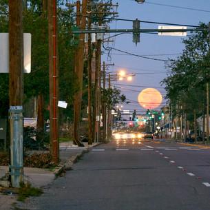 moonrise down Broad Street, Lake Charles