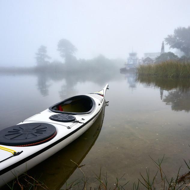 Kayak in fog