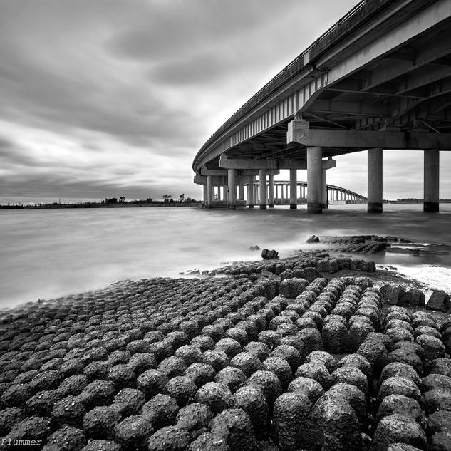 Blustery day at I-210 bridge